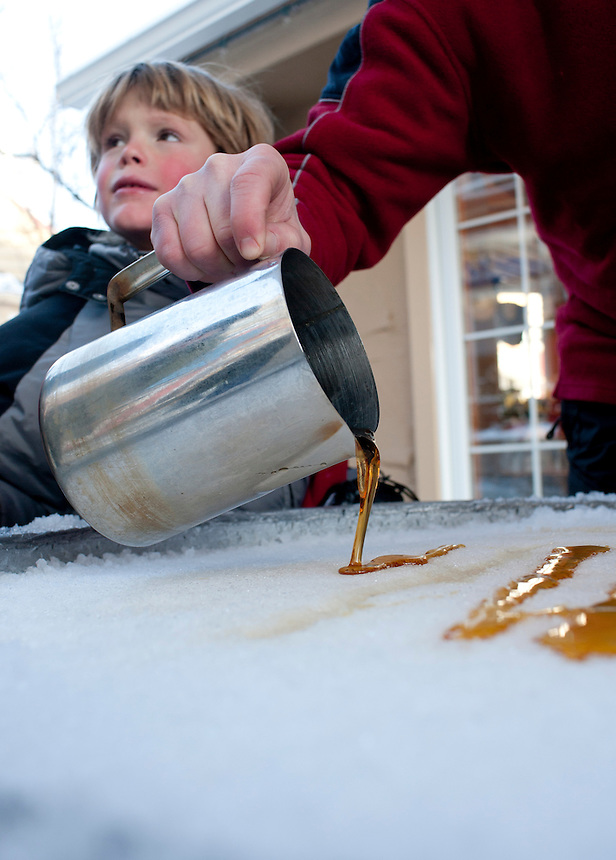 Maple syrup frozen on ice. Ski Fest Tremblant Quebec, Canada
