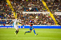 VALENCIA, SPAIN - SEPTEMBER 11: Vitolo and Verza during BBVA LEAGUE match between Levante U.D. And Sevilla C.F. at Ciudad de Valencia Stadium on September 11, 2015 in Valencia, Spain