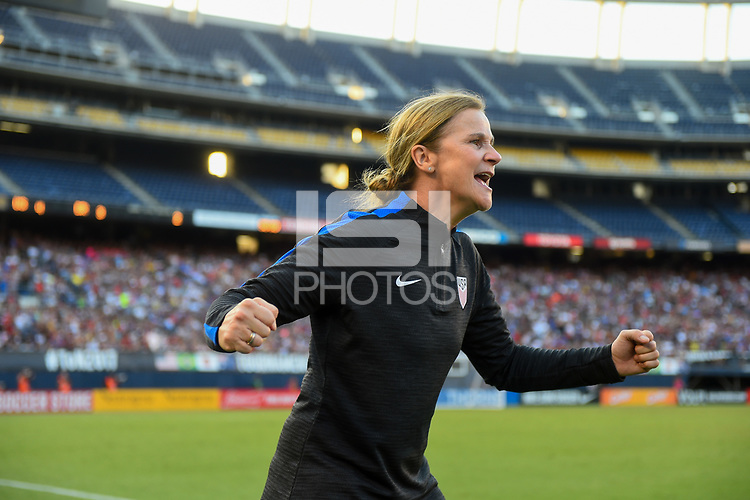 San Diego, CA - Sunday July 30, 2017: Jill Ellis and the U.S. Women's national team celebrate their winning goal by defeating Brazil 4-3 during a 2017 Tournament of Nations match between the women's national teams of the United States (USA) and Brazil (BRA) at Qualcomm Stadium.