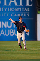 State College Spikes left fielder Bryce Denton (25) throws the ball in after a hit during a game against the Auburn Doubledays on August 21, 2017 at Falcon Park in Auburn, New York.  Auburn defeated State College 6-1.  (Mike Janes/Four Seam Images)