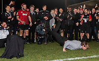 Crusaders coach Scott Robertson does his customary break dance following the 2018 Super Rugby final between the Crusaders and Lions at AMI Stadium in Christchurch, New Zealand on Sunday, 29 July 2018. Photo: Joe Johnson / lintottphoto.co.nz