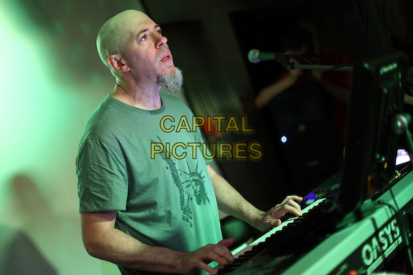 Jordan Rudess.Concert in Moscow, Russia..June 9h, 2010.on stage in concert live gig performance performing music half length grey gray t-shirt keyboard goatee facial hair profile.CAP/PER/SB.© SB/Persona/CapitalPictures