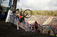 Sven Nys (BEL/Crelan-AAdrinks) climbing out of &quot;The Pit&quot;<br /> <br /> GP Zonhoven 2014