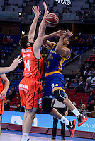 Valencia Basket's Bojan Dubljevic and Herbalife Gran Canaria's Eulis Baez during Quarter Finals match of 2017 King's Cup at Fernando Buesa Arena in Vitoria, Spain. February 17, 2017. (ALTERPHOTOS/BorjaB.Hojas) /Nortephoto.com