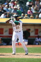 OAKLAND, CA - MAY 7:  Frank Thomas of the Oakland Athletics bats during the game against the Baltimore Orioles at the McAfee Coliseum in Oakland, California on May 7, 2008.  The Athletics defeated the Orioles 6-5.  Photo by Brad Mangin