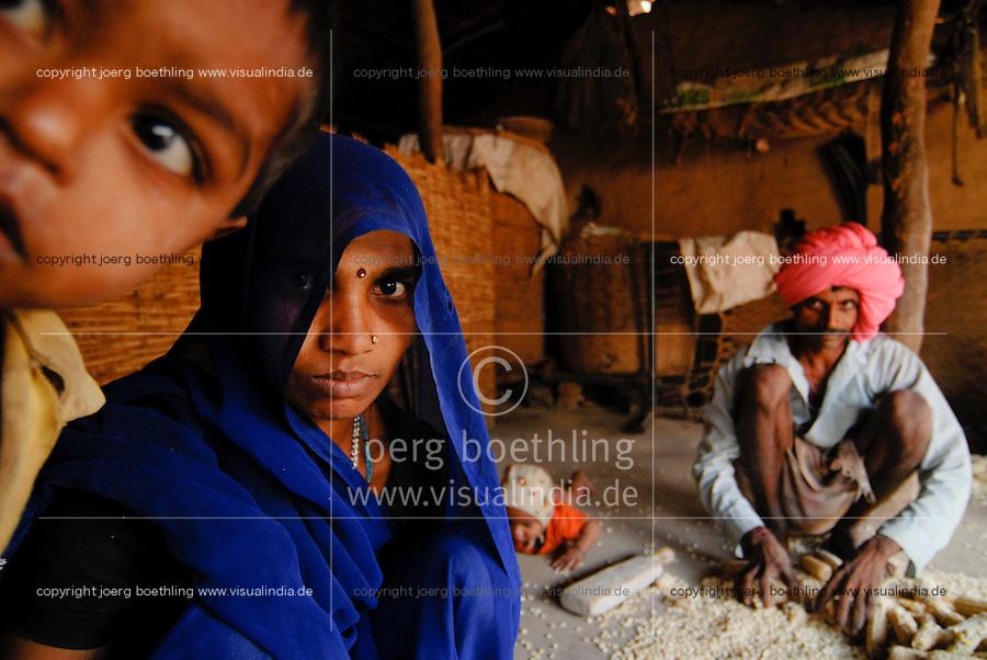 Indien Madhya Pradesh , Adivasi Familie vom Stamm der Bhil in ihrer Huette im Narmada Tal , Einbringen der Maisernte / INDIA Madhya Pradesh , tribal family of Bhil tribe in their hut in the Narmada valley, maize