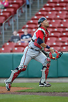 Gwinnett Braves catcher J.C. Boscan #7 during a game against the Buffalo Bisons at Coca-Cola Field on May 17, 2012 in Buffalo, New York.  Buffalo defeated Gwinnett 4-2.  (Mike Janes/Four Seam Images)