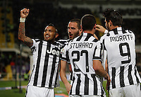 Calcio, Coppa Italia: semifinale di ritorno Fiorentina vs Juventus. Firenze, stadio Artemio Franchi, 7 aprile 2015. <br /> Juventus' Leonardo Bonucci, second from left, celebrates with teammates after scoring during the Italian Cup semifinal second leg football match between Fiorentina and Juventus at Florence's Artemio Franchi stadium, 7 April 2015.<br /> UPDATE IMAGES PRESS/Isabella Bonotto