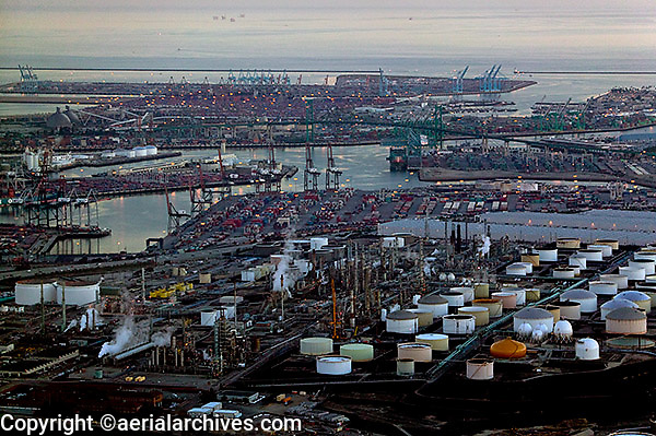 aerial photograph refinery Port of Los Angeles, California