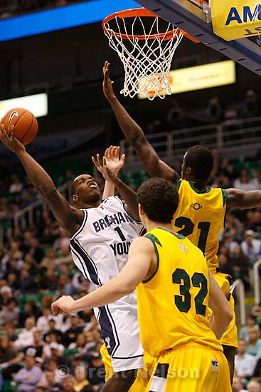 BYU's Charles Abouo (1) shoots the ball. BYU vs. USF college basketball, Saturday, December 5 2009 at EnergySolutions Arena in Salt Lake City.
