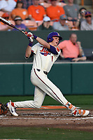 Shortstop Logan Davidson (8) of the Clemson Tigers bats in a game against the Furman Paladins on Tuesday, February 20, 2018, at Doug Kingsmore Stadium in Clemson, South Carolina. Clemson won, 12-4. (Tom Priddy/Four Seam Images)