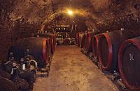 Europe/Hongrie/Tokay/Env Sarospatak: Cave privée d'un vigneron - Tonneaux et bouteilles de vin