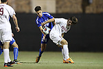DURHAM, NC - NOVEMBER 25: Duke's Jack Doran (28) and Fordham's Matt Miller (right). The Duke University Blue Devils hosted the Fordham University Rams on November 25, 2017 at Koskinen Stadium in Durham, NC in an NCAA Division I Men's Soccer Tournament Third Round game. Fordham advanced 8-7 on penalty kicks after the game ended in a 2-2 tie after overtime.