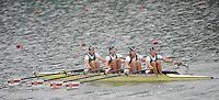 Ottensheim, AUSTRIA. BLR. JW4X,  Morning semi final, as the crew moves away from the start pontoon, at the 2008 FISA Senior and Junior Rowing Championships,  Linz/Ottensheim. Friday,  25/07/2008.  [Mandatory Credit: Peter SPURRIER, Intersport Images] Rowing Course: Linz/ Ottensheim, Austria