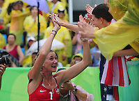 Aug. 10, 2008; Beijing, CHINA; Kerri Walsh (USA) celebrates after defeating Japan during the womens beach volleyball match at the Chaoyang Park Beach Volleyball Ground in the 2008 Beijing Olympic Games. Mandatory Credit: Mark J. Rebilas-