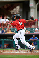 Erie SeaWolves right fielder Steven Moya (41) follows through on a swing during a game against the Hartford Yard Goats on August 6, 2017 at UPMC Park in Erie, Pennsylvania.  Erie defeated Hartford 9-5.  (Mike Janes/Four Seam Images)