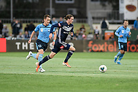 17th November 2019; Jubilee Oval, Sydney, New South Wales, Australia; A League Football, Sydney Football Club versus Melbourne Victory;  Josh Hope of Melbourne Victory breakes past Brandon O'Neill of Sydney