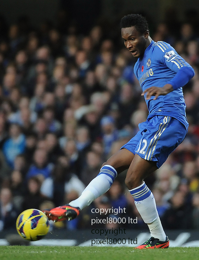 Mikel of Chelsea in action during the Barclays Premier League match between Chelsea and Liverpool at Stanford Bridge on Sunday November 11, 2012 in London, England Picture Zed Jameson/pixel 8000 ltd.