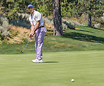 Johnathan Byrd watches his putt on the 2nd green during the Barracuda Championship PGA golf tournament at Montrêux Golf and Country Club in Reno, Nevada on Saturday, July 27, 2019.