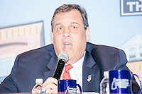 """New Jersey governor and Republican presidential candidate Chris Christie speaks at a """"Life of the Party"""" event at the New Hampshire Institute of Politics at Saint Anselm College in Goffstown, New Hampshire, on Tues., Feb. 2, 2016. The event is put on by Stay Work Play NH, a group for young professionals in the state. The day before, Christie tenth in the Iowa Caucus."""