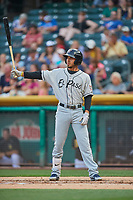 Javy Guerra (5) of the El Paso Chihuahuas bats against the Salt Lake Bees at Smith's Ballpark on August 13, 2018 in Salt Lake City, Utah. Salt Lake defeated El Paso 4-3. (Stephen Smith/Four Seam Images)