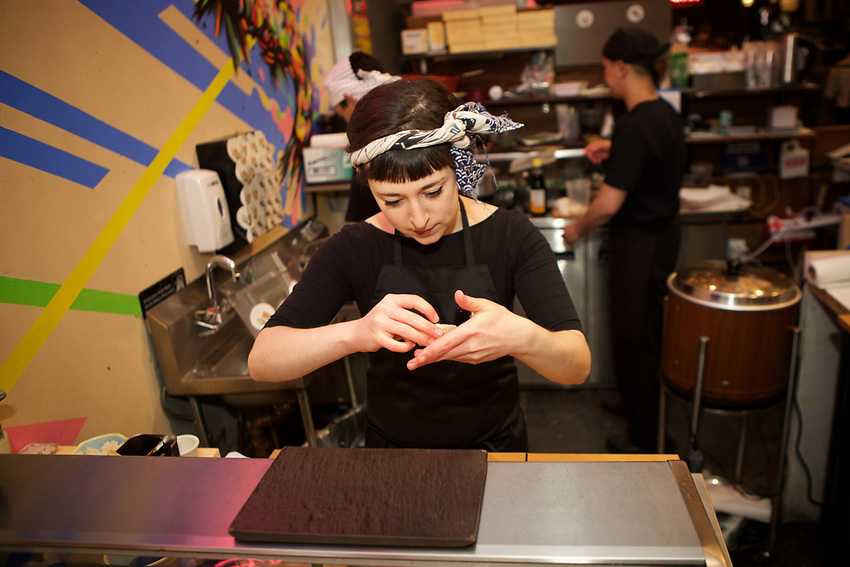 NEW YORK, NY - July 5, 2017: Chef Oona Tempest of Sushi by Bou in Gansevoort Market.<br /> <br /> Credit: Clay Williams for Gothamist.<br /> <br /> &copy; Clay Williams / http://claywilliamsphoto.com
