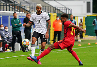 Germany's Lukas Nmecha (10) and Belgium's Hannes Delcroix (19) in action during a soccer game between the national teams Under21 Youth teams of Belgium and Germany on the 5th matday in group 9 for the qualification for the Under 21 EURO 2021 , on tuesday 8 th of September 2020  in Leuven , Belgium . PHOTO SPORTPIX.BE | SPP | SEVIL OKTEM