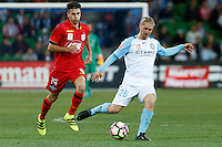 Melbourne, 28 October 2016 - LUKE BRATTAN (26) of Melbourne City kicks the ball in the round 4 match of the A-League between Melbourne City and Adelaide United at AAMI Park, Melbourne, Australia. Melbourne won 2-1 (Photo Sydney Low / sydlow.com)