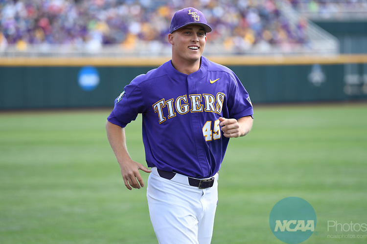 OMAHA, NE - JUNE 26: Russell Reynolds (45) of Louisiana State University smiles before his team takes on the University of Florida during the Division I Men's Baseball Championship held at TD Ameritrade Park on June 26, 2017 in Omaha, Nebraska. The University of Florida defeated Louisiana State University 4-3 in game one of the best of three series. (Photo by Jamie Schwaberow/NCAA Photos via Getty Images)
