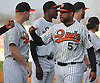 Newly signed Long Island Ducks pitcher Francisco Rodriguez #57 greets teammates during pregame introductions that preceded the team's season home opener against the Southern Maryland Blue Crabs at Bethpage Ballpark in Central Islip, NY on Friday, May 4, 2018.
