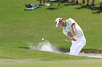 James Hahn (USA) chips from a bunker at the 1st green during Saturday's Round 3 of the 2017 PGA Championship held at Quail Hollow Golf Club, Charlotte, North Carolina, USA. 12th August 2017.<br /> Picture: Eoin Clarke | Golffile<br /> <br /> <br /> All photos usage must carry mandatory copyright credit (&copy; Golffile | Eoin Clarke)