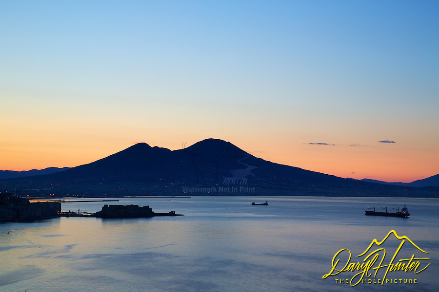 Sunrise over Mt Vesuvius, Naples Bay, Naples Italy