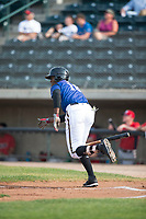 Missoula Osprey center fielder Kristian Robinson (18) runs to first base during a Pioneer League game against the Orem Owlz at Ogren Park Allegiance Field on August 19, 2018 in Missoula, Montana. The Missoula Osprey defeated the Orem Owlz by a score of 8-0. (Zachary Lucy/Four Seam Images)