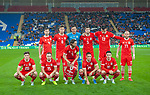 Cardiff - UK - 9th September :<br />Wales v Belarus Friendly match at Cardiff City Stadium.<br />Wales team pose for a photo ahead of kick off.<br />Editorial use only