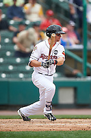 Rochester Red Wings left fielder Buck Britton (5) at bat during a game against the Indianapolis Indians on May 26, 2016 at Frontier Field in Rochester, New York.  Indianapolis defeated Rochester 5-2.  (Mike Janes/Four Seam Images)
