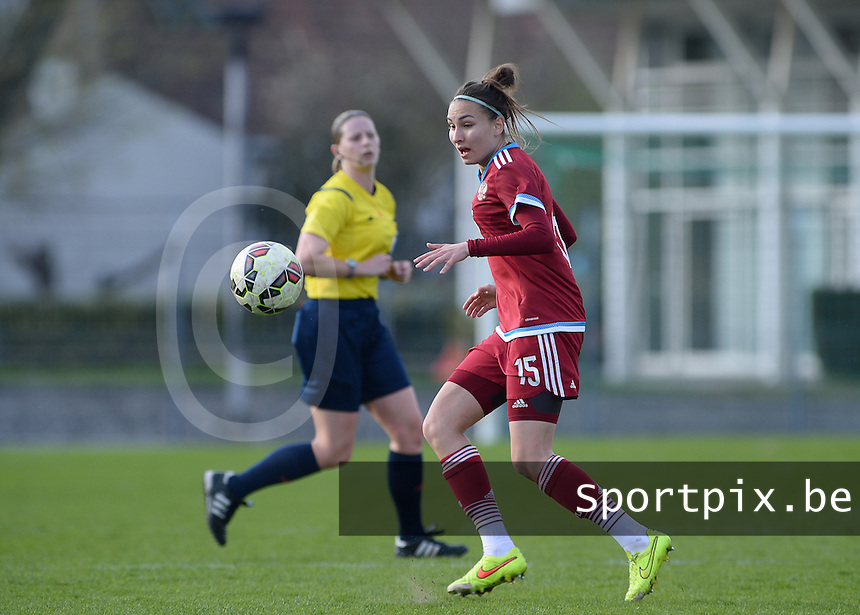 20150406 - MELUN , FRANCE  : Russian Ekaterina Tyryshkina pictured during the soccer match between Women Under 19 teams of Iceland and Russia , on the second matchday in group 3 of the UEFA Elite Round Women Under 19 at Stade Municipal , Melun , France . Monday 6th April 2015 . PHOTO DAVID CATRY