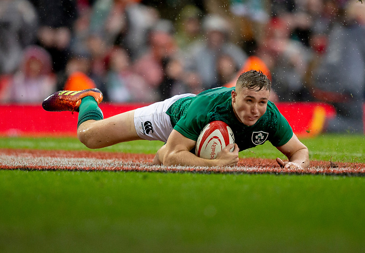 Ireland's Jack Carty scores his sides first try<br /> <br /> Photographer Bob Bradford/CameraSport<br /> <br /> Guinness Six Nations Championship - Wales v Ireland - Saturday 16th March 2019 - Principality Stadium - Cardiff<br /> <br /> World Copyright © 2019 CameraSport. All rights reserved. 43 Linden Ave. Countesthorpe. Leicester. England. LE8 5PG - Tel: +44 (0) 116 277 4147 - admin@camerasport.com - www.camerasport.com