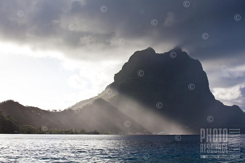 Bora Bora in the morning with slanting sun rays