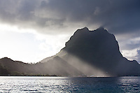 Bora Bora in the morning with slanting sun rays