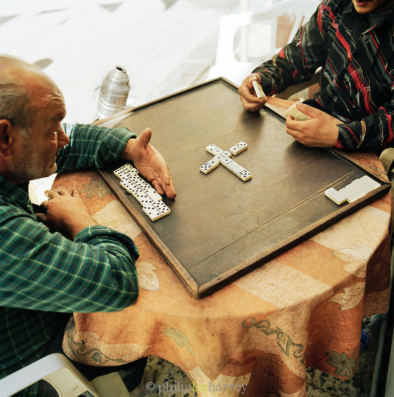 Locals playing dominos, Tripoli, Libya