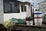 Fresh fish shop. Small fishing and sailing hamlet of Felixstowe Ferry at the mouth of the River Deben, Suffolk, England