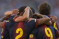 HAMBURGO, ALEMANHA, 24 JULHO 2012 - AMISTOSO INTERNACIONAL 125 ANOS DO HAMBURGER SV - Daniel Alves (C)  jogador do Barcelona comemora seu gol durante partida amistosa que celebra os 125 anos do Hamburger SV. O Barcelona venceu por 2 a 1, em Hamburgo na Alemanha, nesta terca-feira, 24. (FOTO: PIXATHLON / BRAZIL PHOTO PRESS).