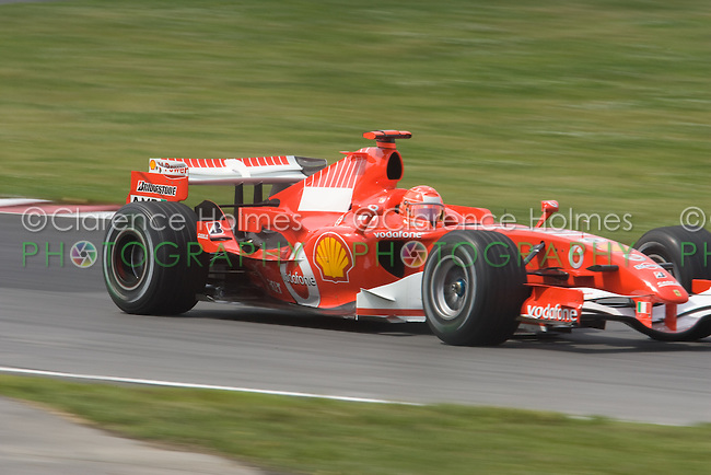 MONTREAL - JUNE 23: Michael Schumacher of Ferrari on the track during the second practice session on the Friday prior to race weekend of the Canadian F1 Grand Prix at the Circuit Gilles-Villeneuve June 23, 2006 in Montreal, Canada.