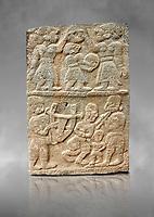 Pictures & images of the North Gate Hittite sculpture stele depicting musicians playing instruments. 8the century BC.  Karatepe Aslantas Open-Air Museum (Karatepe-Aslantaş Açık Hava Müzesi), Osmaniye Province, Turkey. Against grey art background