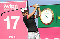 Catriona Matthew (SCO) tees off the 17th tee during Thursday's Round 1 of The Evian Championship 2018, held at the Evian Resort Golf Club, Evian-les-Bains, France. 13th September 2018.<br /> Picture: Eoin Clarke | Golffile<br /> <br /> <br /> All photos usage must carry mandatory copyright credit (© Golffile | Eoin Clarke)