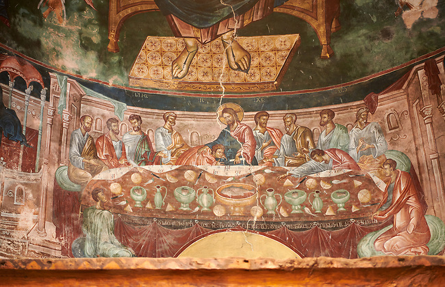 Pictures & images of the interior frescoes of the Last Supper, Ubisa St. George Georgian Orthodox medieval monastery, Georgia (country)<br /> <br /> The 14th century lavish interior frescoes were painted by Gerasim in a local style known as Palaeologus  following Byzantine influences.