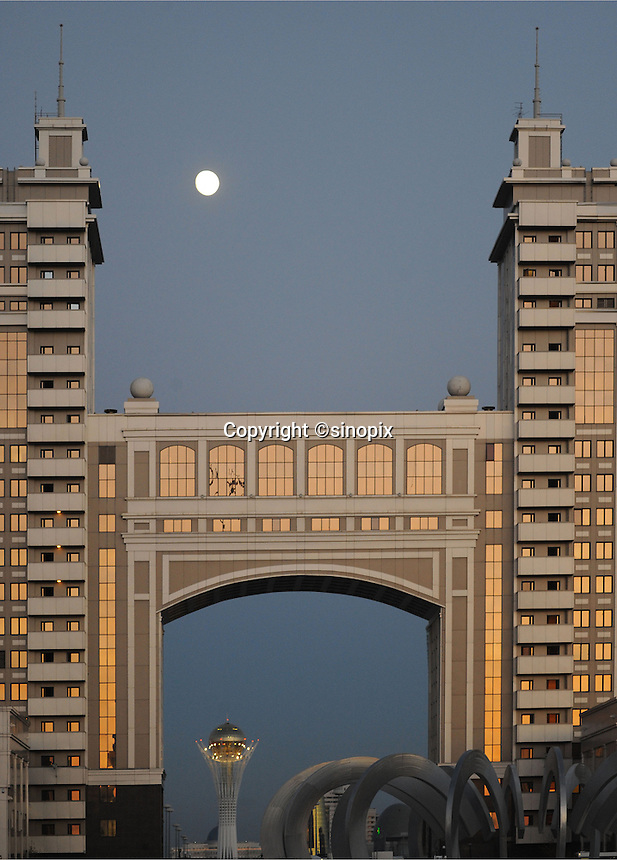 Moon rises of Astana, the capitol of Kazakstan.<br /> <br /> PHOTO BY RICHARD JONES/SINOPIX