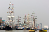 London, UK. 6 September 2014. Tall ships at Woolwich Pier. Tall Ships sailing on the River Thames on the second day of the Royal Greenwich Tall Ships Festival 2014.