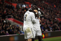 Pictured: Jonjo Shelvey of Swansea celebrating his goal with team mate Bafetimbi Gomis Sunday 01 February 2015<br />