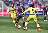 Chester, Pa. - April 10, 2016: The U.S. Women's National team go up against Colombia early in first half action during an international friendly match at Talen Energy Stadium.
